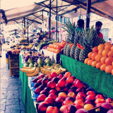 Venders selling fruit on the streets of Venice