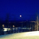 Nighttime boarding at Blue Mountain. Feb, 2012The runs were illuminated by the lights and the moon.The hill was virtually deserted, I did many runs where I didn't see anyone at all - awesome night of riding, great conditions & weather.