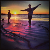 #sunset#beach#children#sand#heart#pose#dog#scenery#beautiful#