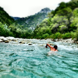 Swim river natation france free style man body sport nature French Riviera green water