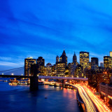 New York skyline illuminated at dusk