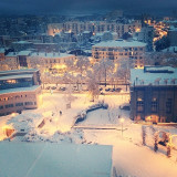 This photo was taken during the first heavy snow in Saint-Etienne, France on November 20, 2013