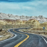 Curvy Road in Badlands, South Dakota, USA