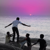 Some young Sri Lankans play on the beach in the southern beachside village of Unawatuna !