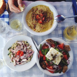 Fava beans, grilled octopus and of course Greek salad. #fresh #greek #lunch #santorini