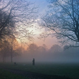 Early morning mist over the parks around Clapham, London as the first frost of the Winter forces dog walkers to wrap up warm