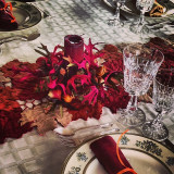 The table was set, such fine care was taken to the place settings.  Neat, orderly, and with lots of fall colors.
