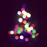 Beautiful bokeh of abstract Christmas tree lights