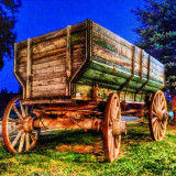 Close up of old wooden cart