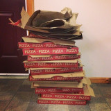 All the pizza we eat at retreat on a saturday night... I dont even think thats all the boxes.