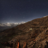 Dhankar and Mountain range in Spiti valley at night