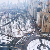 High angle view of a snow-covered city