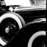 Antique car detail in black and white