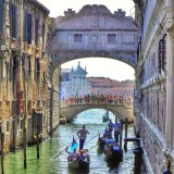 Bridge of Sighs and Gondolas in Grand Canal, Venice, Italy.