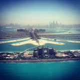 Spectacular aerial view of the Atlantis hotel and Palm Jumeirah in Dubai, United Arab Emirates.