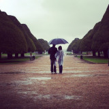 Couple under an umbrella in a park