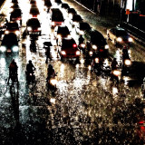 Ruch hour traffic in the rain