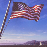 Flag and pride sailing high by the Golden Gate Bridge in San Francisco, California. USA!