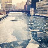 Shards of ice in an inner-city river