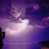 Lightning strikes over Cat Bay above Flathead Lake on the Flathead Indian Reservation in Montana.