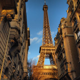 France, Paris, View of Eiffel Tower from street