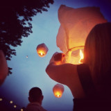People with floating paper lanterns