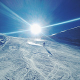 Ski slope in sunlight