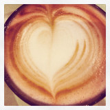 Heart shape on cappuccino, close-up