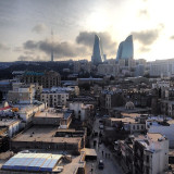 View of the Flame Towers atop Baku's famous Maiden Tower. Azerbaijan.