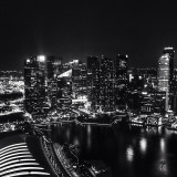 The Singapore skyline from the top of the marina bay resort hotel.