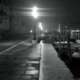 Venice at night in the fog