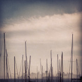 San Francisco in fog with ship and masts