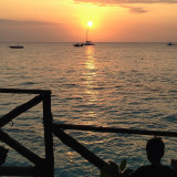 Sunset reflected on the water at Nungwi, Zanzibar
