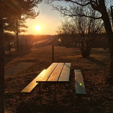 Park bench and table at the Hoover Dam park in Columbus, Ohio