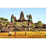 Tourist on Stride at Angkor Wat