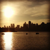 Oh sweet blessed New York City skyline. New York City sunrise view from the Hoboken Waterfront 2013.