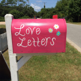 "Cute pink mail box with the phrase ""Love Letters""🔸- -"