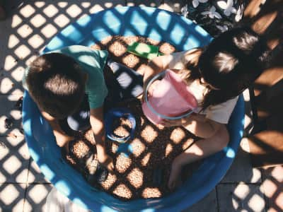 Getting creative in SoCal. Using dry pinto beans in the kiddy pool.