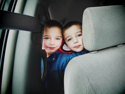Traveling in the van; waiting in the car