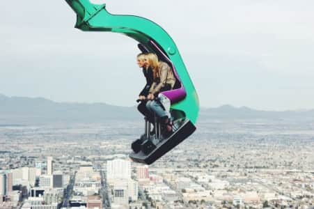 The Insanity thrill ride atop the Stratosphere Tower in Las Vegas.
