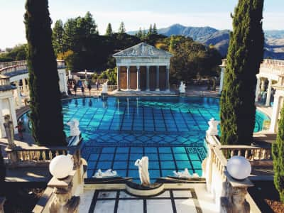 The Neptune pool at Hearst castle with a bit of a photobomb from Lady GaGa in the upper left. She was shooting her next music video on site. Crazy ridiculous outfits as usual.