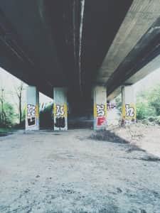 Graffiti on columns