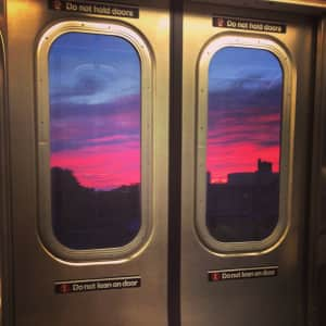 Sunrise in Brooklyn NY as seen from the elevated F Train