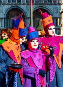 Beautiful and colorful masks and costumes at Venice carnival