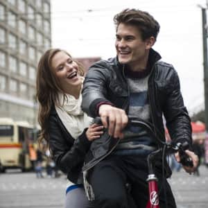 Young couple cruising through Berlin. P.S. I have their release if needed.