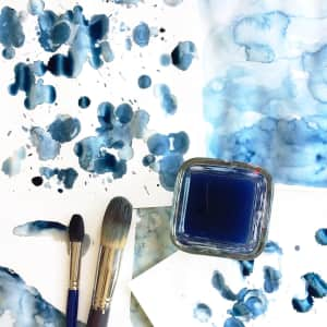 Study of blue watercolor paint patterns and textures by artist Mari Orr.