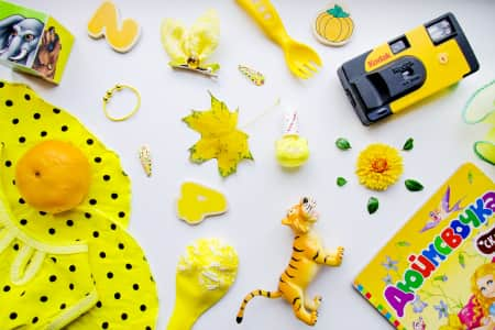 Flat Lay Item of children's favorite things in yellow
