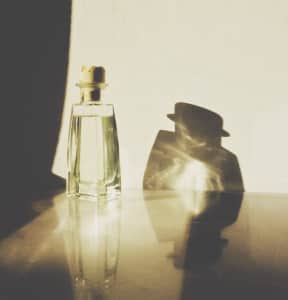 Bottle and shadow. Lady and gentleman