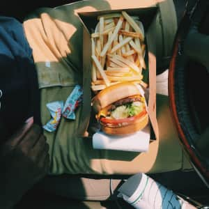 Took a drive downtown to get a in-n-out burger and some fries. We ate in the car because we apparently don't like people.