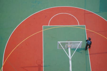 alone on basket ball area